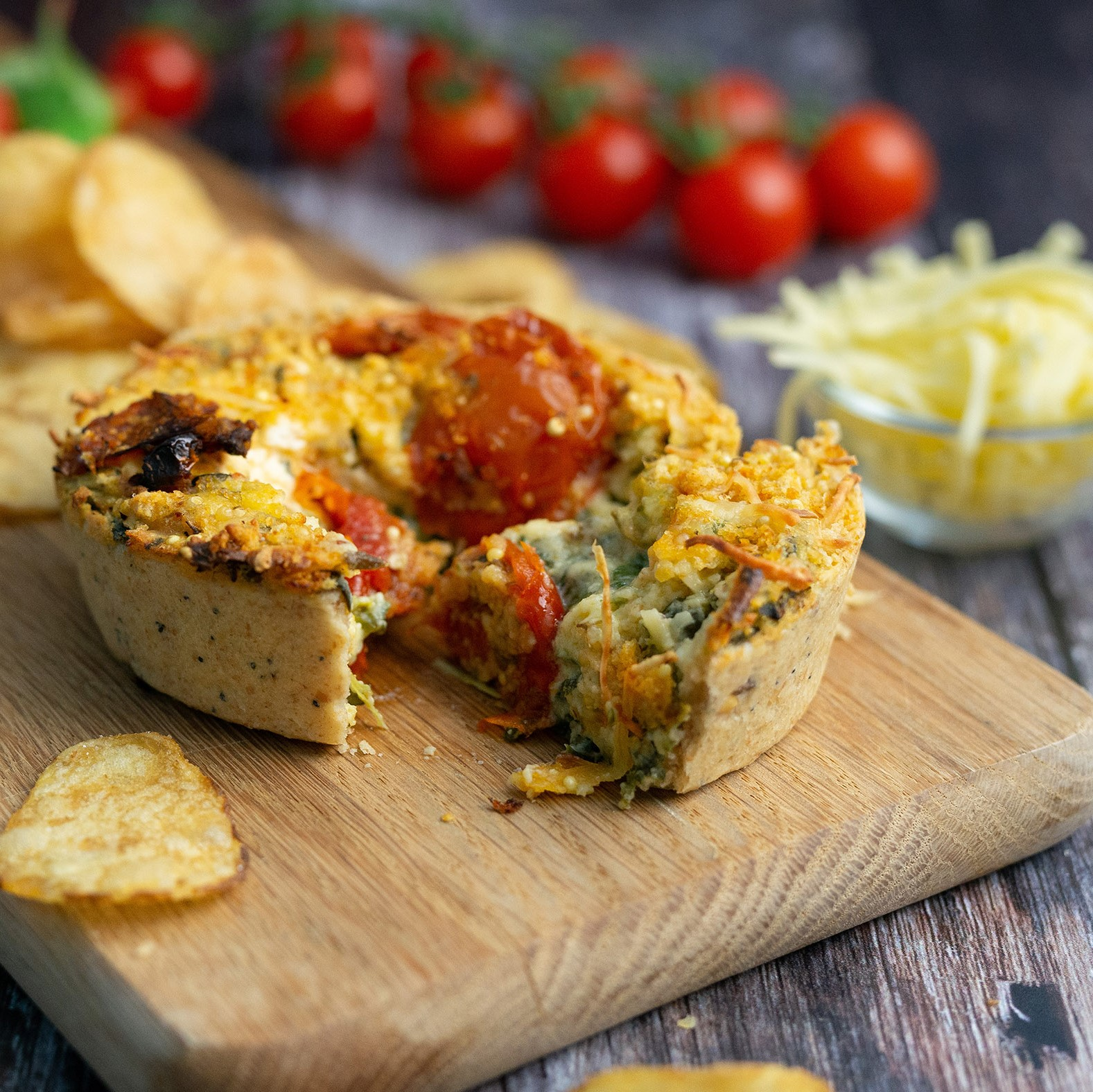 Spinneyfields Mature Cheddar, Tomato & Broccoli Quiche - Square Image